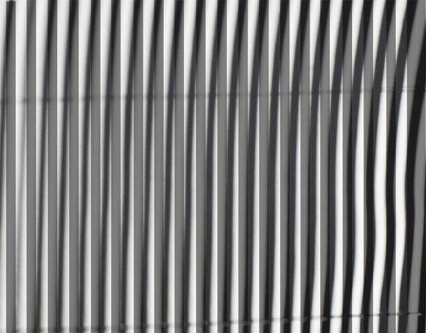 """Blinds #2 Inkjet photograph (Woven Organza)  and Black Painter's Tape on Acrylic Primed Canvas  34"""" x 44"""""""