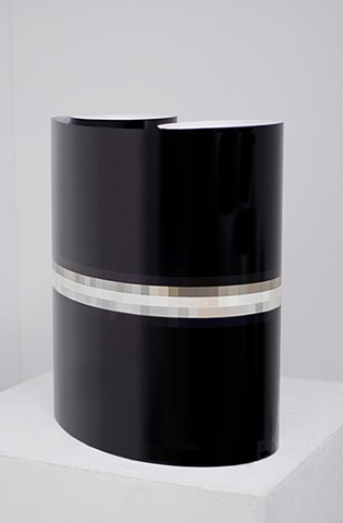 """Saturn at 3200% (May 4, 2014, 11:22-11:29pm) Installation View (Rolled on Pedestal), Digital C-Print 77"""" x 22"""""""