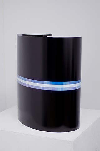 "Venus at 3200% (June 16, 2014, 2:23-­2:31am) Installation View (Rolled on Pedestal), Digital C-­Print 77"" x 22"""