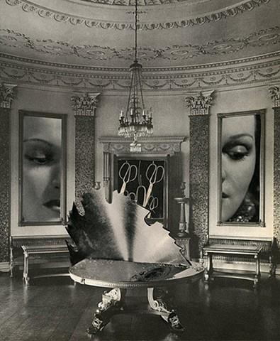 surreal collage interior with woman cut in half