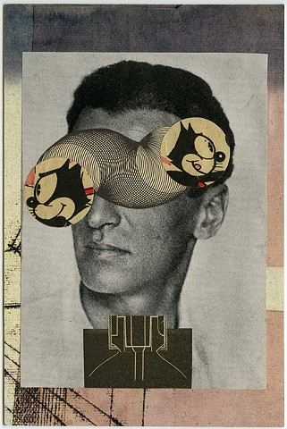 Angelica Paez, collage, cut and paste, Felix the Cat, surreal, eyes