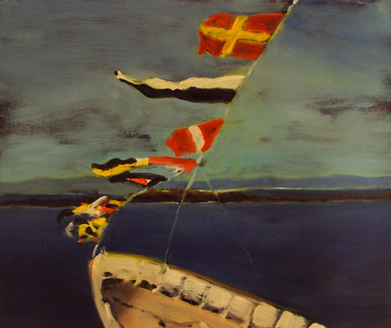 Ben Williamson artist, Ben Williamson painting, Ben Williamson art, Ben Williamson painting of flags on boat in Scotland