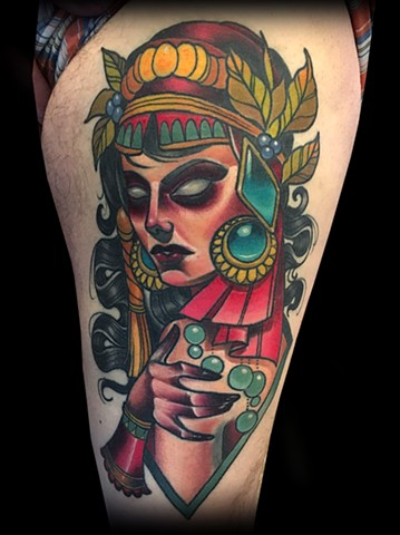 neo traditional bearded lady head color tattoo matt truiano gypsy