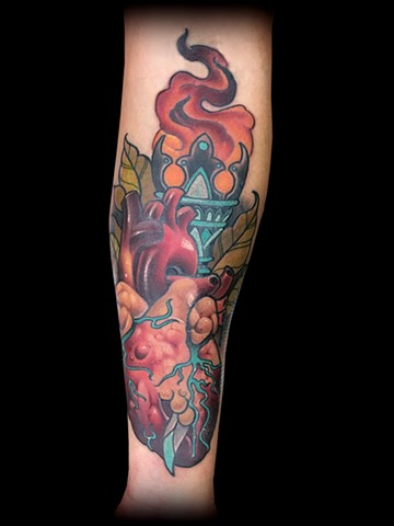 neo traditional color tattoo heart torch nyc matt truiano
