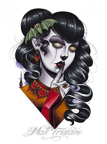 neotraditional victorian queen copic marker drawing matt truiano lady head bat vampire