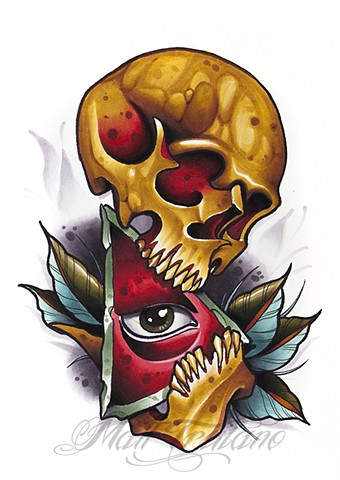 neotraditional skull all seeing eye copic marker matt truiano