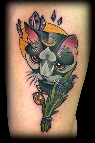 neo traditional color tattoo cat crystals matt truiano
