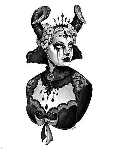 neotraditional vicorian ram queen copic marker drawing matt truiano