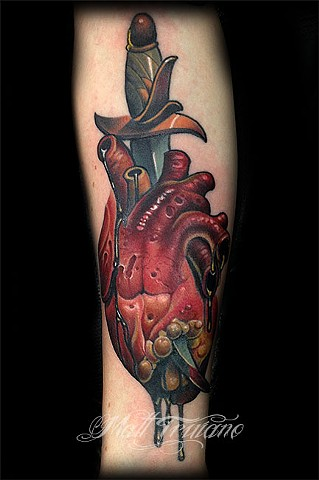 human anatomical heart and dagger tattoo by matt truiano