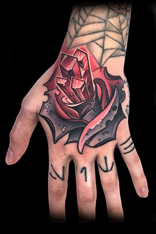 neo traditional color tattoo rose crystals hand nyc matt truiano