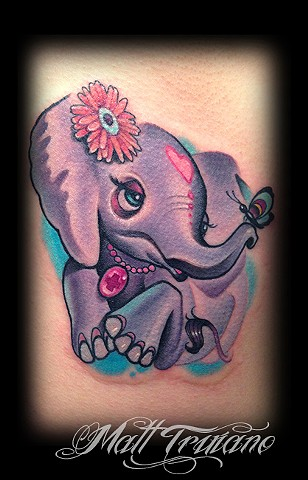 cute new school baby elephant topless girl ribs tattoo matt truiano color