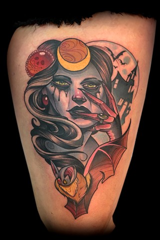 bat queen lady head neo traditional color tattoo matt truiano
