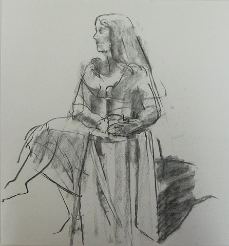 female charcoal figure drawing sketch
