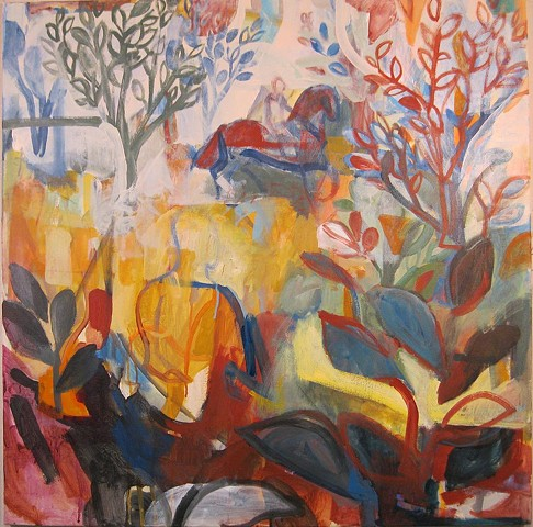 landscape, abstract, horses, figures