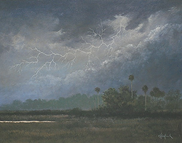 Tomoka State Part Thunder storm Acrylic painting Scott Hiestand