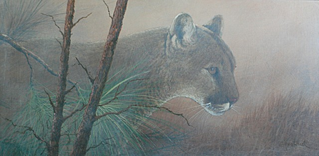 Florida Panther Pine Trees Acrylic painting Scott Hiestand