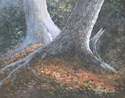 Oak trees Cypress Trees Acrylic Painting Scott Hiestand