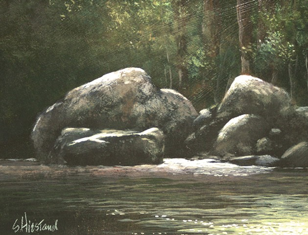 Bald Rive Boulders North Carolina Acrylic painting Scott Hiestand