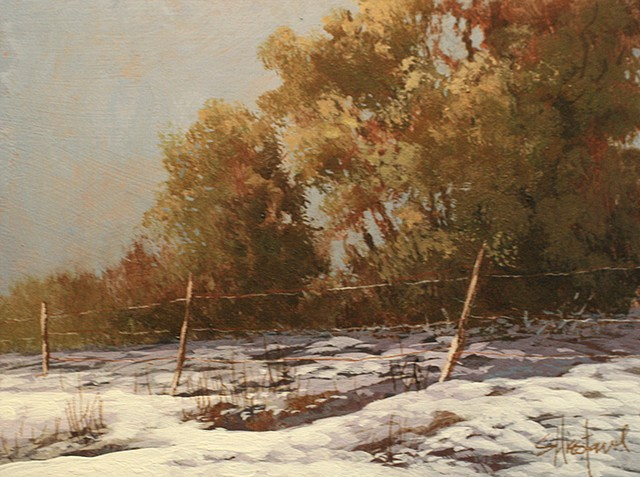 Fence Line Snow Colorado Acrylic Painting Scott Hiestand