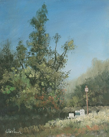 Beehive and Bird house Acrylic painting Scott Hiestand