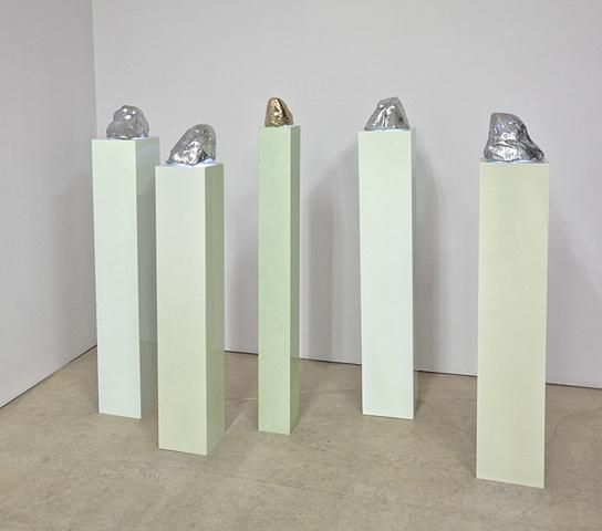 Installation view of Gouzenko Hood sculptures in Dazzle Shizzle exhibition