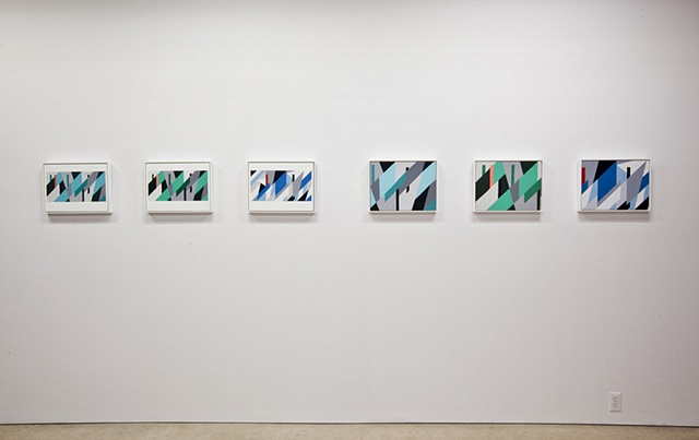Installation view of Dazzle Shizzle exhibition showing OMD Dazzle Ships paintings