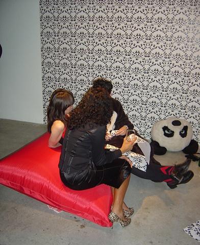 'Panda Orgy' with 'Fucking Pandas' wallpaper by Kate Terry & Gary Colclough