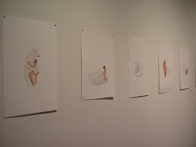 installation view: 'Wouldn't It Be (Ice, Ice)' showing 'Polar Fuck' drawings