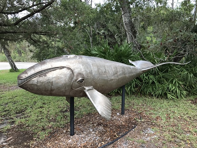 Right Whale Calf by Thomas Prochnow  stainless steel  Jekyll Island, Ga.