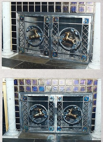 Hand forged fireplace doors by Thomas Prochnow