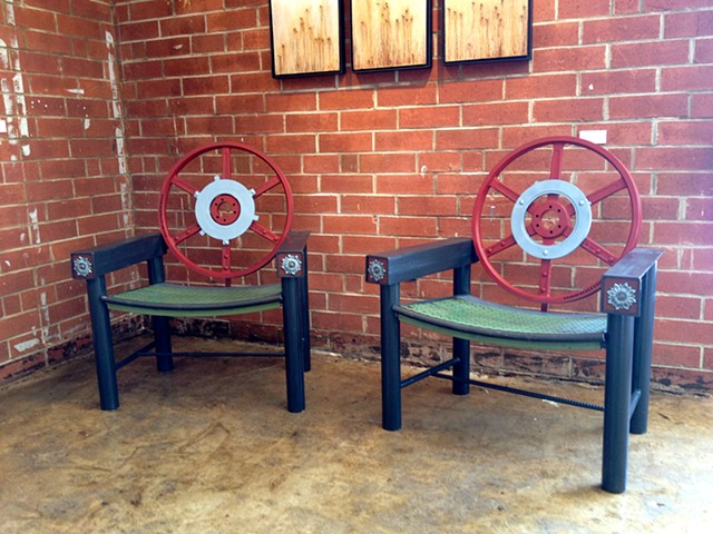 Red Gear Chairs by Thomas Prochnow