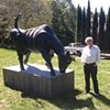 Charging Bull with art collector  Klaus Becker