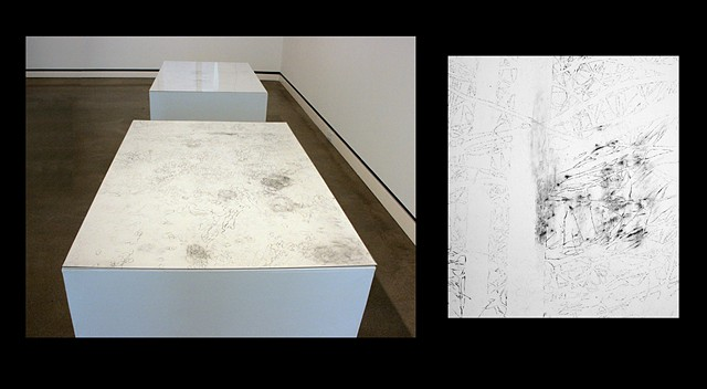 Installation View, Transfer Drawings on Pedestals