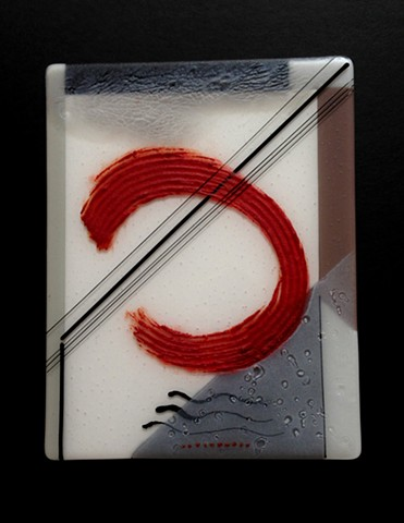 Fused glass with powder - half tones and large red accent