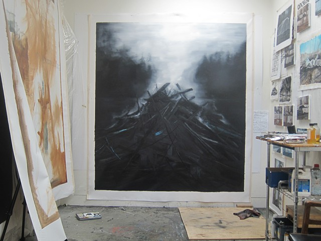 philosophy of fire painting in progress in studio, oil on canvas