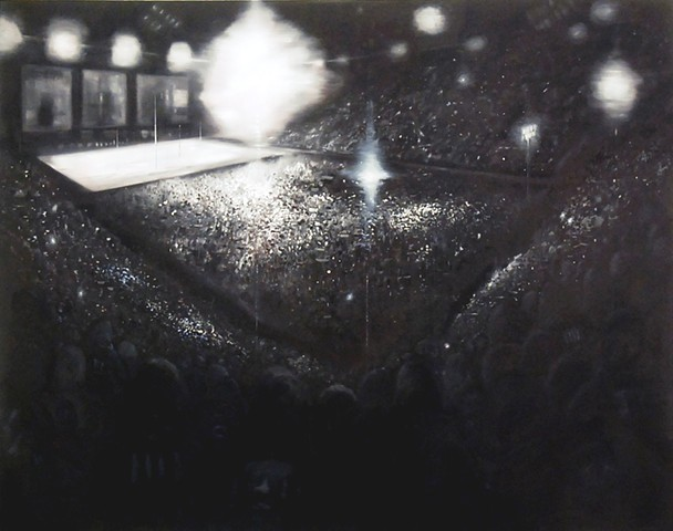 Stadium , Left panel 190 x 240 cm oil