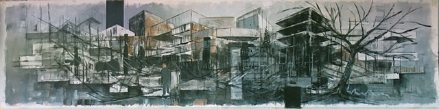 acrylic painting people architecture