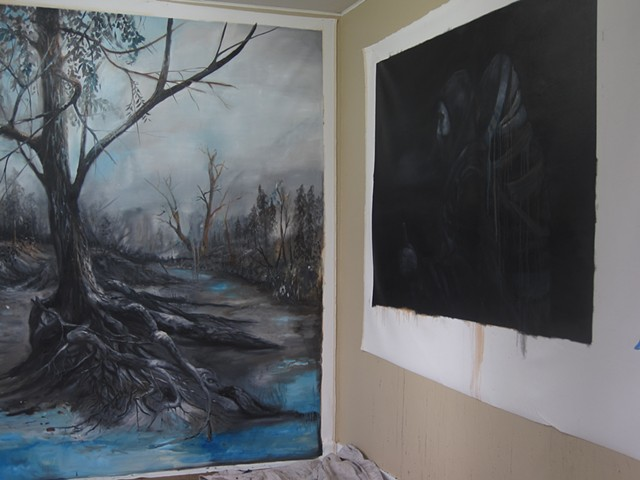 Studio with Wayfarer IV and Wayfarer, the wanderer in process