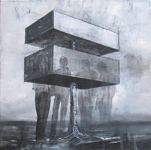 contemporary artist paints abstract architecture