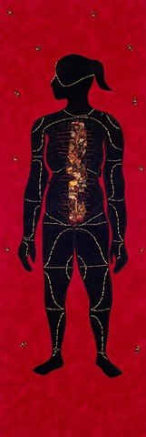 Shervone Neckles, Velvet, fabric drawing, collage, caribbean artist, contemporary caribbean art, new york contemporary art, female body, black womanhood, african mythology, caribbean mythology, african diaspora, Grenada, Grenadian artist, afro-caribbean d