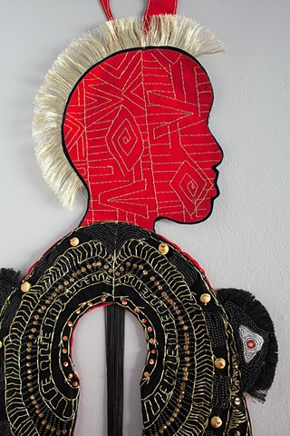 Shervone Neckles, Velvet, fabric drawing, collage, caribbean artist, contemporary caribbean art, new york contemporary art, female body, black womanhood, african mythology, caribbean mythology, african diaspora, Grenada, Grenadian artist, afro-caribbean