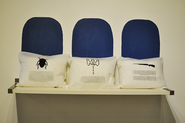 'Sibling Memory Parallax (Flight Story)', 2013 Screen printed Polypropolene fabric, travel pillows & site-specific installation, pillows  12 x 16 x 3 inches each