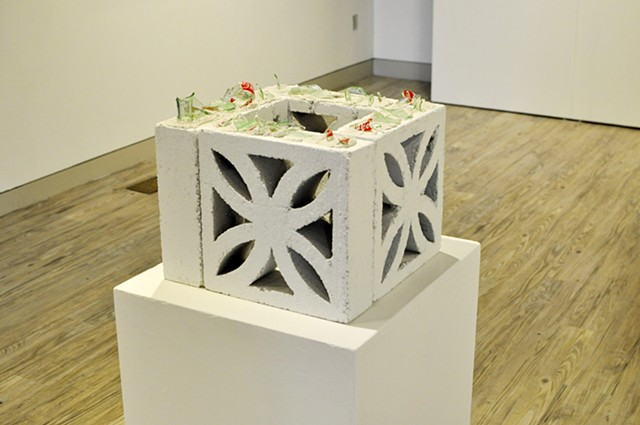 'US-PANAMA Relations', 2013 concrete, grout, Coca-Cola bottles 14 x 12 x 12 inches