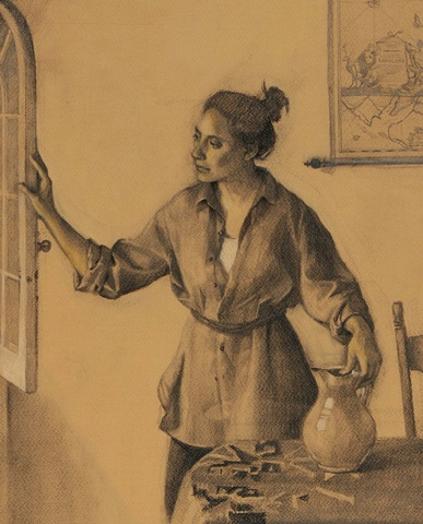 Study for Woman with Pitcher (detail)