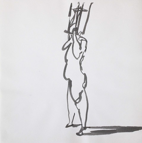 Nude Holding a Chair Over Her Head