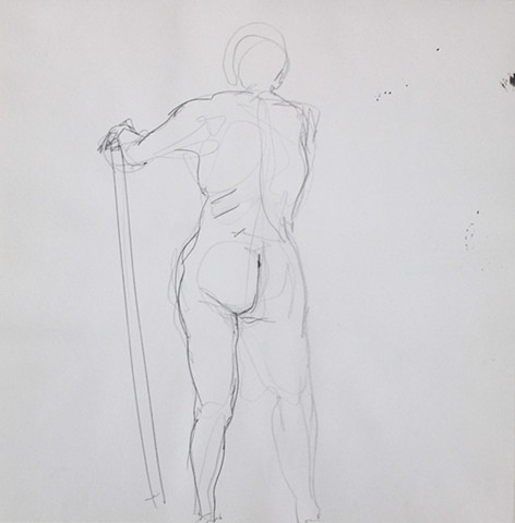 Nude Standing with a Stick