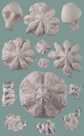 plaster casts of plastic recycling packages, photographs