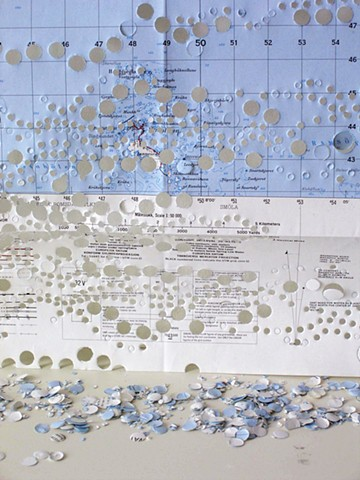 cartography, mapping, cut maps, borders, recycling paper, 2d map to a 3d world, confetti