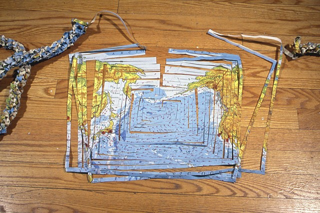cartography, mapping, borders, recycling paper, 2d map to a 3d world