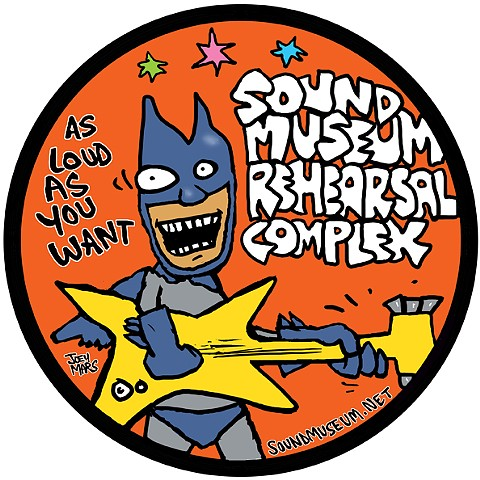 "Sound Museum promo sticker design.  ""As Loud As You Want"""